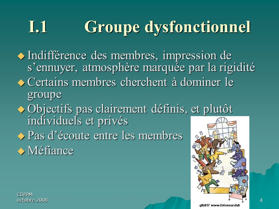 I.1 Groupe dysfonctionnel