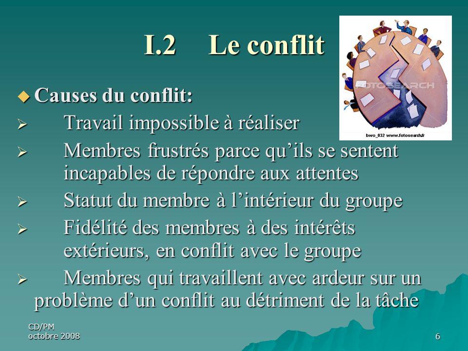 I.2 Le conflit Causes du conflit: Travail impossible à réaliser
