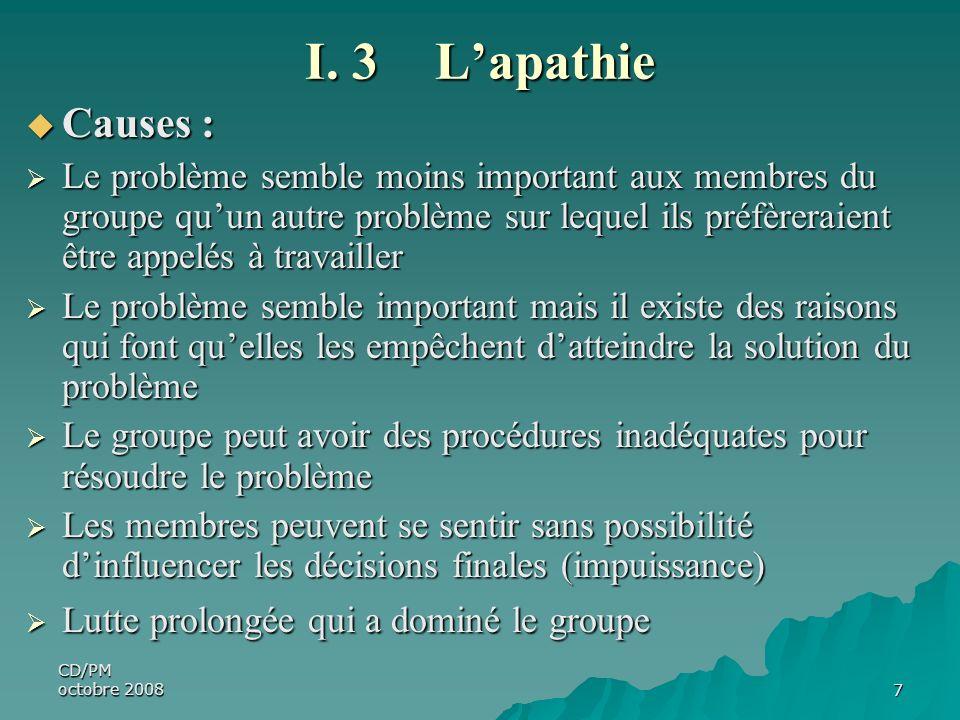 I. 3 L'apathie Causes :