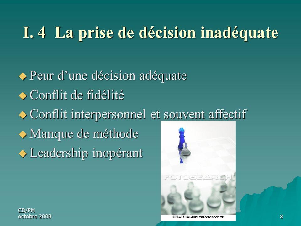 I. 4 La prise de décision inadéquate
