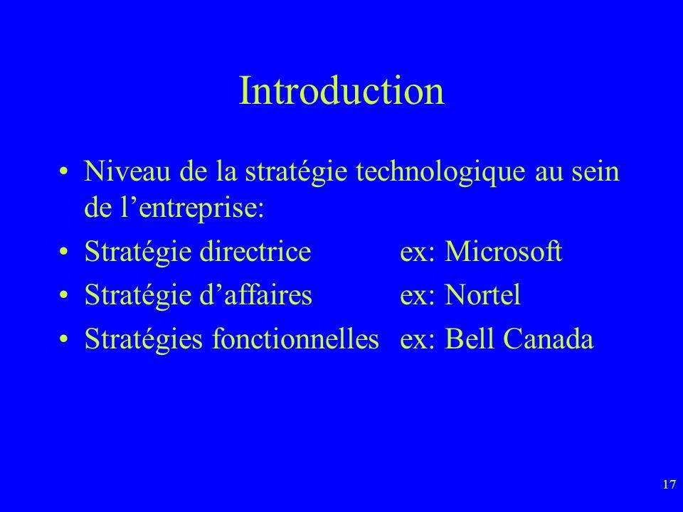 Introduction Niveau de la stratégie technologique au sein de l'entreprise: Stratégie directrice ex: Microsoft.