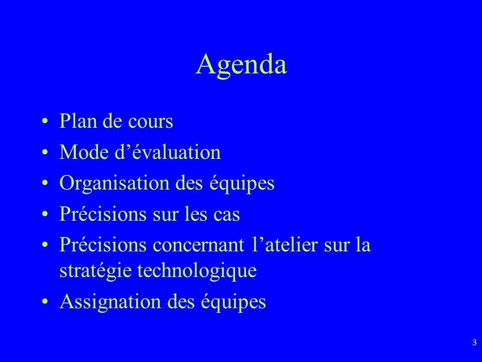 Agenda Plan de cours Mode d'évaluation Organisation des équipes