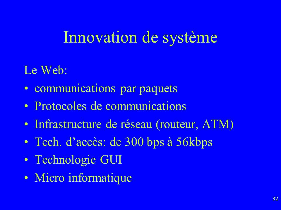 Innovation de système Le Web: communications par paquets