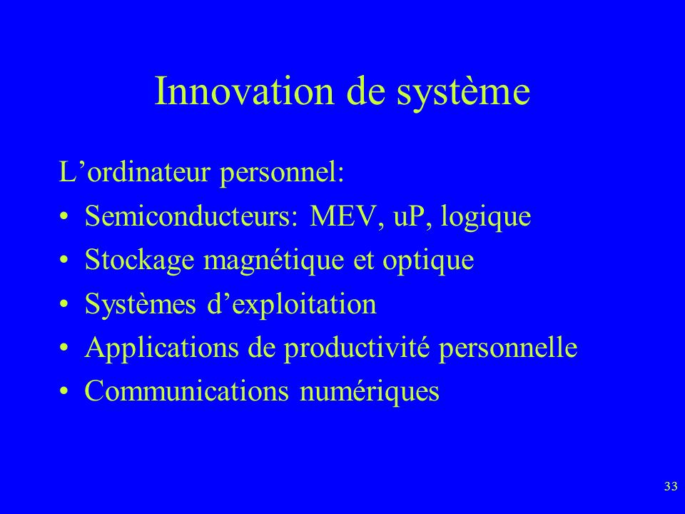 Innovation de système L'ordinateur personnel: