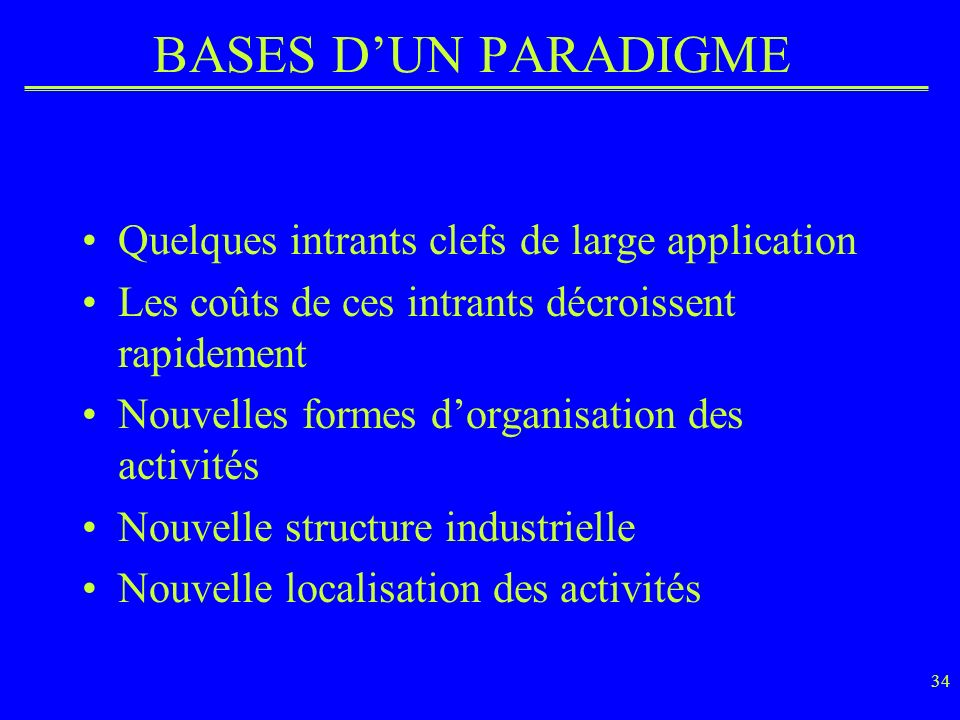 BASES D'UN PARADIGME Quelques intrants clefs de large application