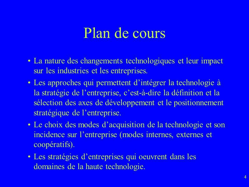 Plan de cours La nature des changements technologiques et leur impact sur les industries et les entreprises.