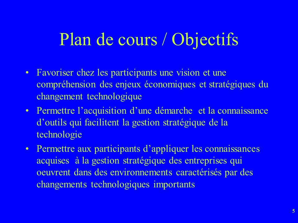 Plan de cours / Objectifs