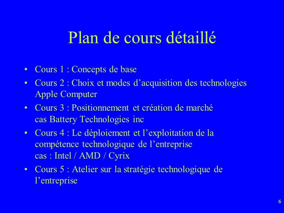 Plan de cours détaillé Cours 1 : Concepts de base