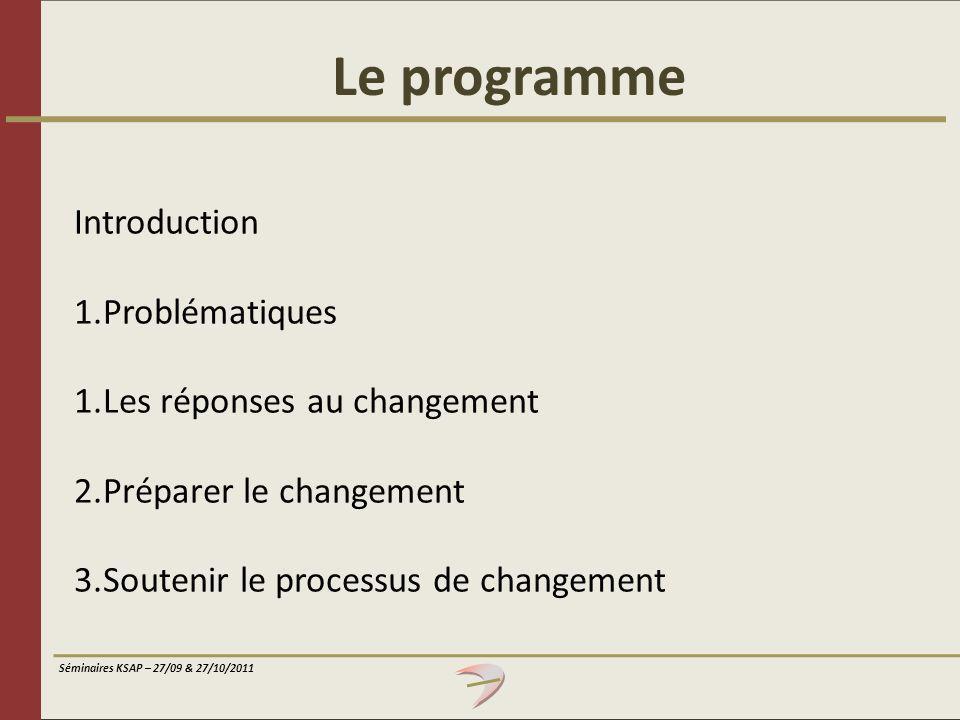 Le programme Introduction Problématiques Les réponses au changement