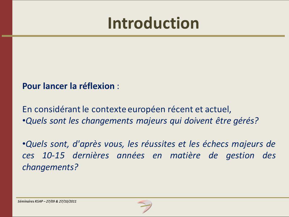 Introduction Pour lancer la réflexion :