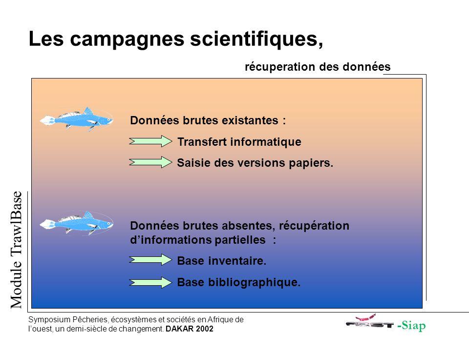Les campagnes scientifiques, récuperation des données