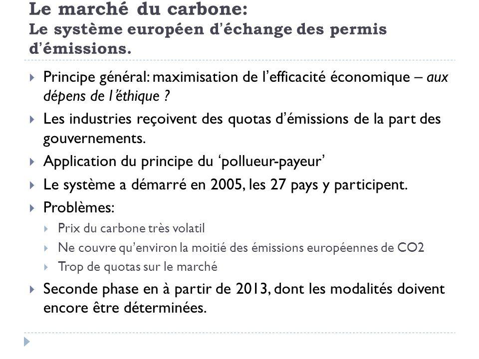 Le marché du carbone: Le système européen d'échange des permis d'émissions.