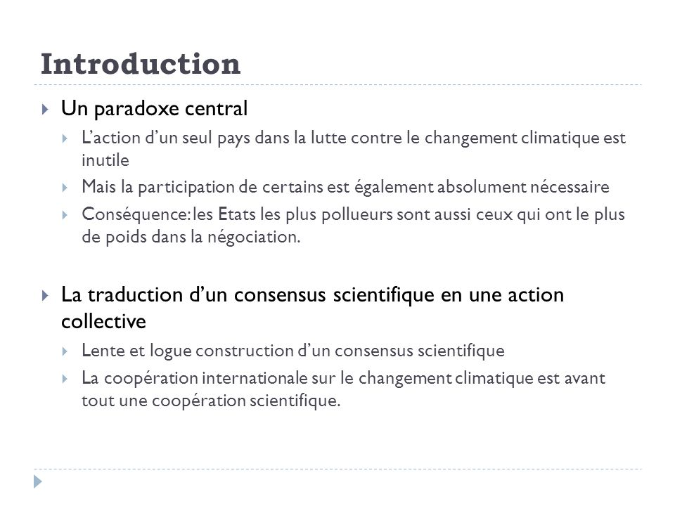 Introduction Un paradoxe central