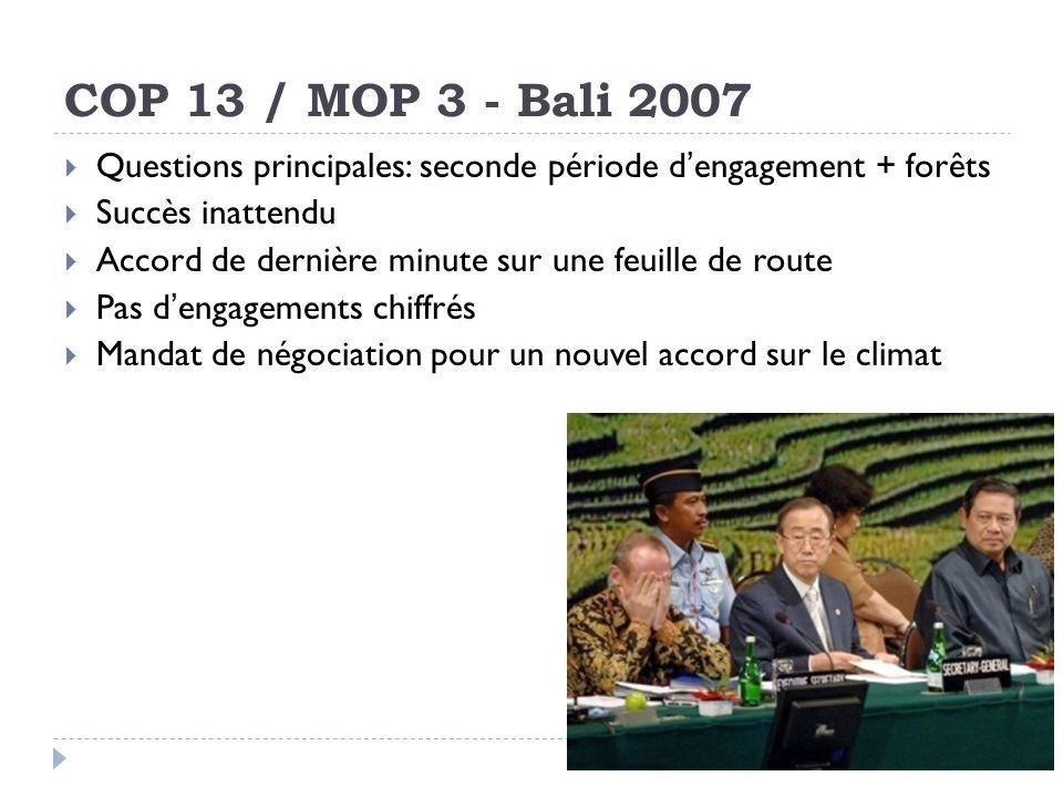 COP 13 / MOP 3 - Bali 2007 Questions principales: seconde période d'engagement + forêts. Succès inattendu.