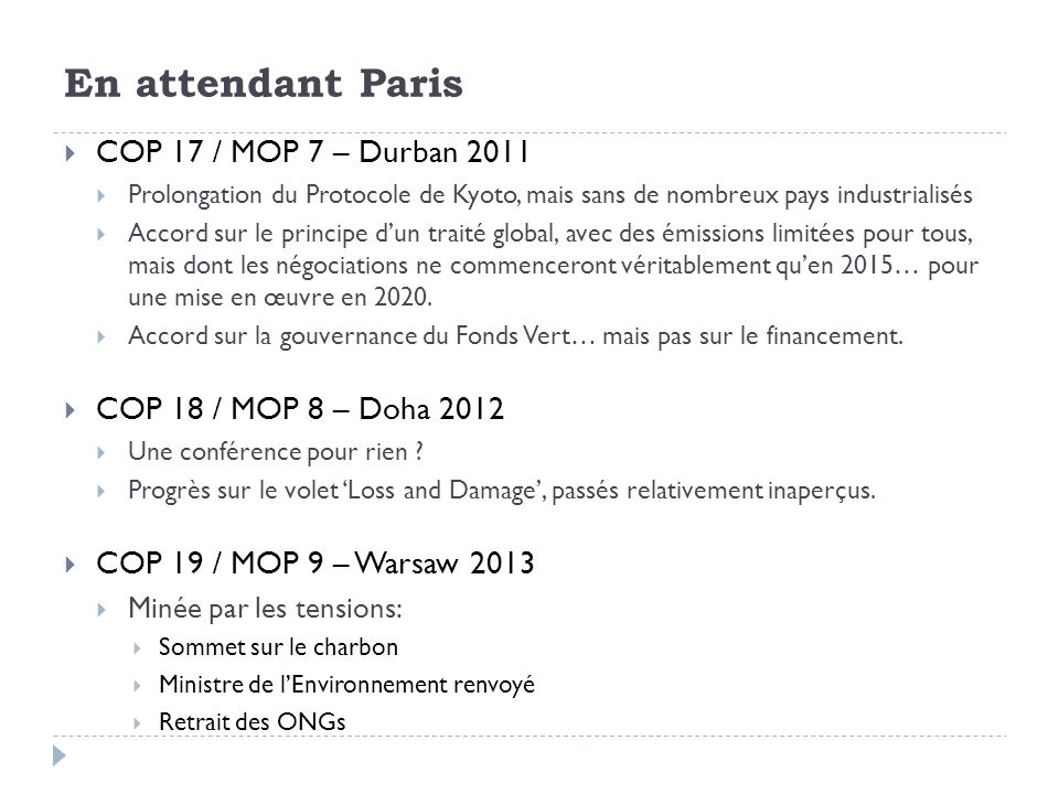 En attendant Paris COP 17 / MOP 7 – Durban 2011