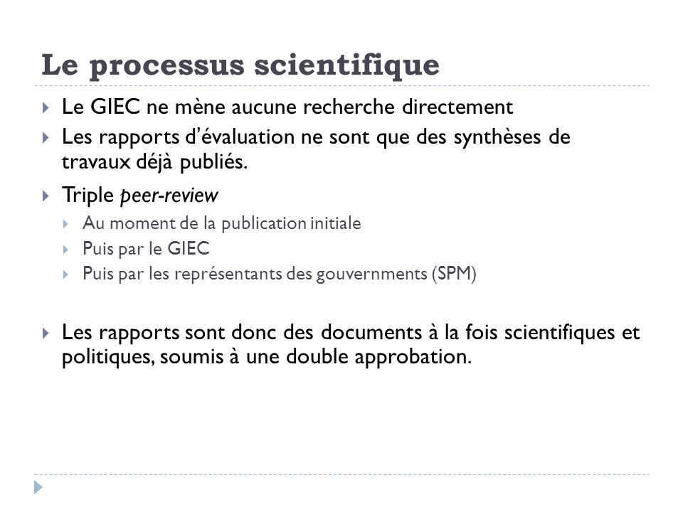 Le processus scientifique