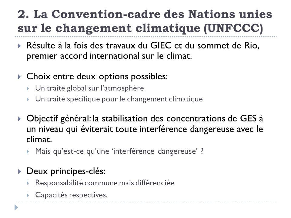 2. La Convention-cadre des Nations unies sur le changement climatique (UNFCCC)
