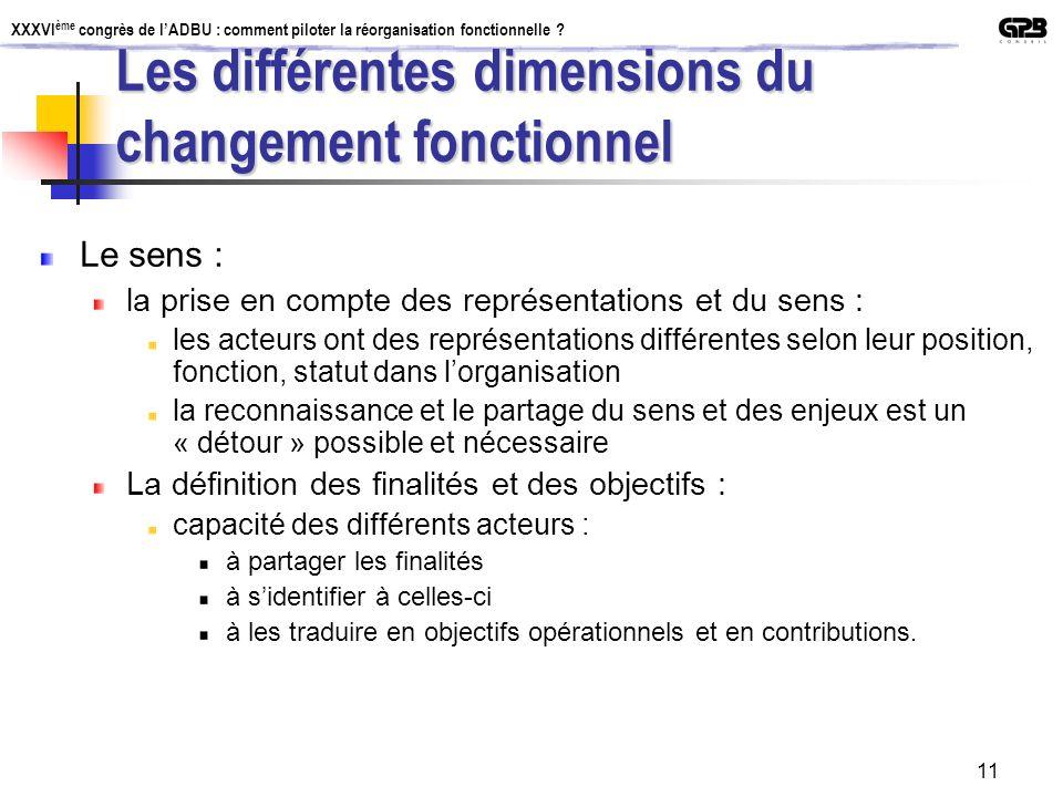Les différentes dimensions du changement fonctionnel