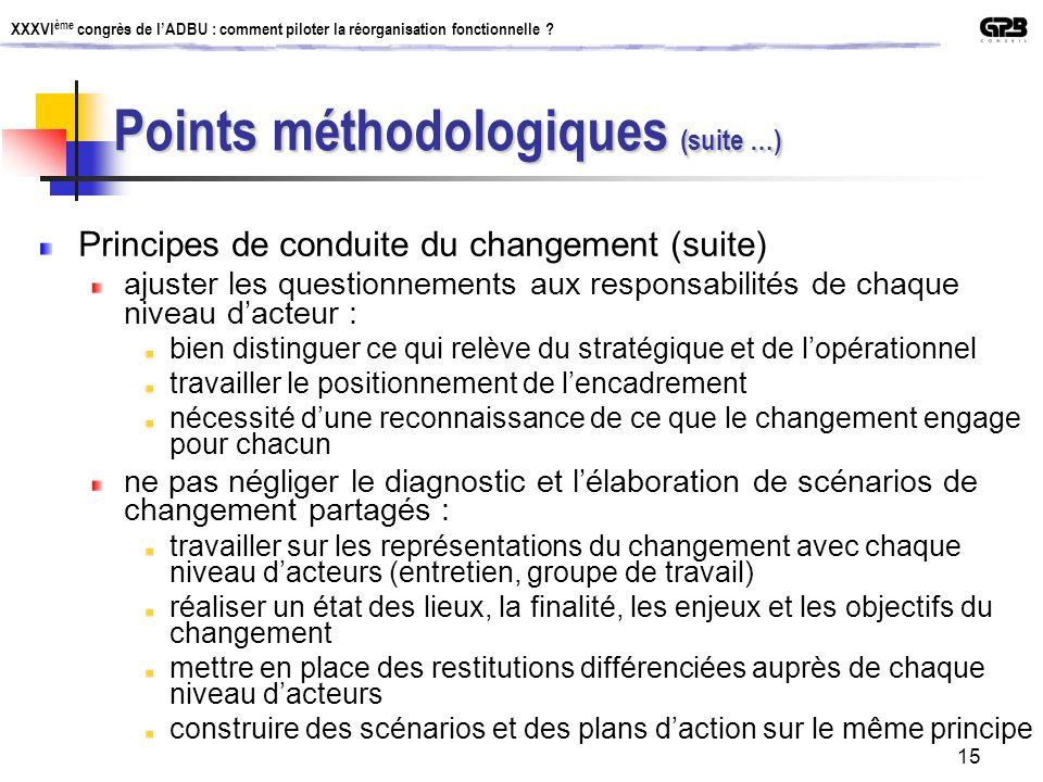 Points méthodologiques (suite …)