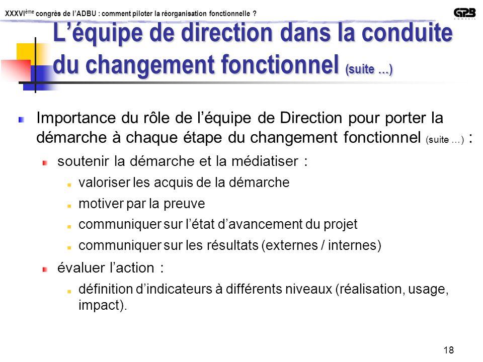 L'équipe de direction dans la conduite du changement fonctionnel (suite …)