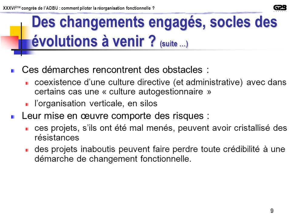 Des changements engagés, socles des évolutions à venir (suite …)