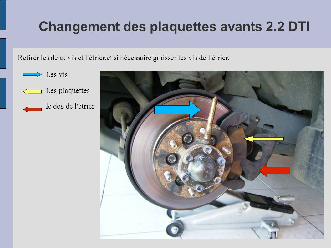 Changement des plaquettes avants 2.2 DTI