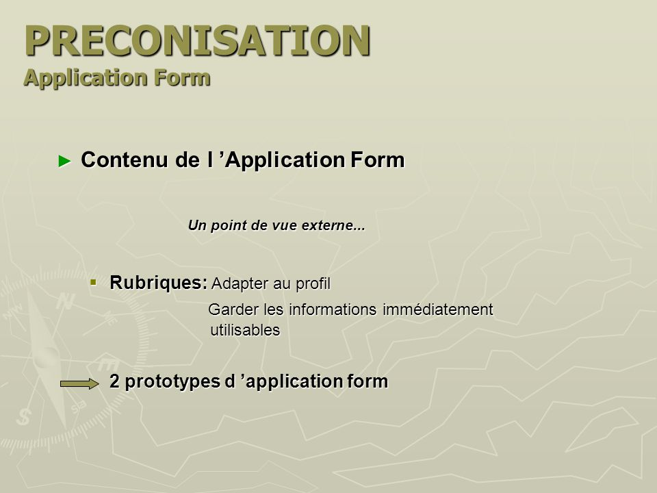 PRECONISATION Application Form