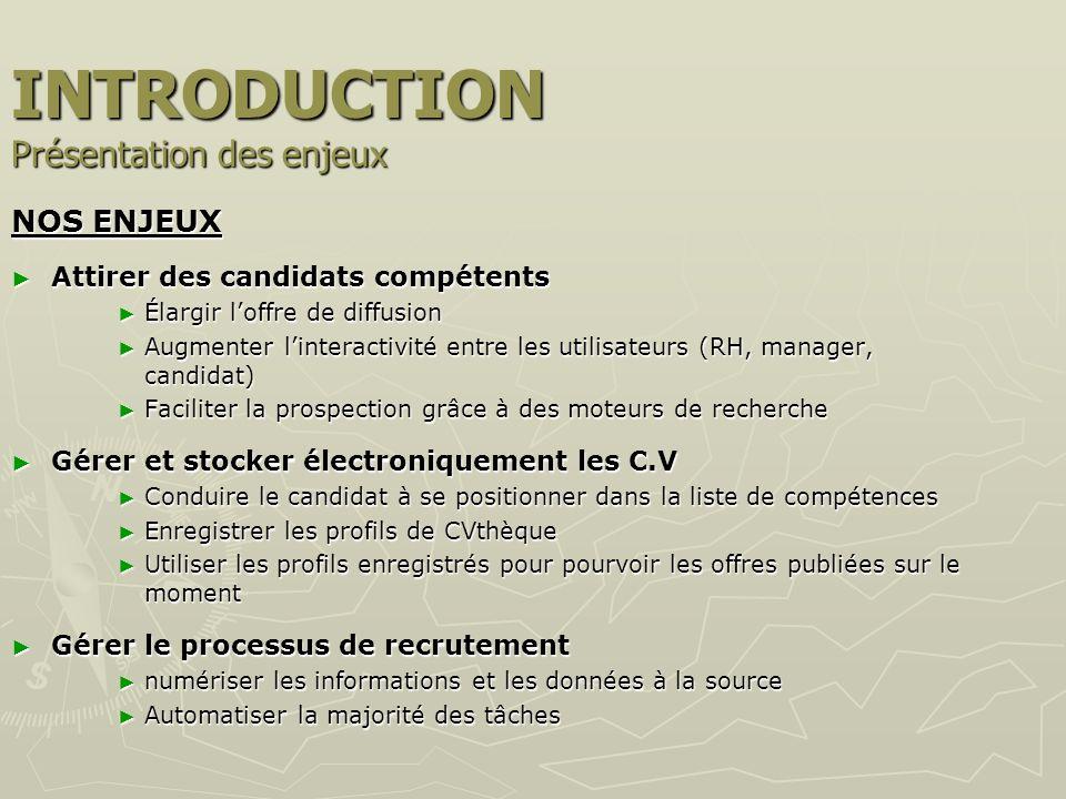 INTRODUCTION Présentation des enjeux