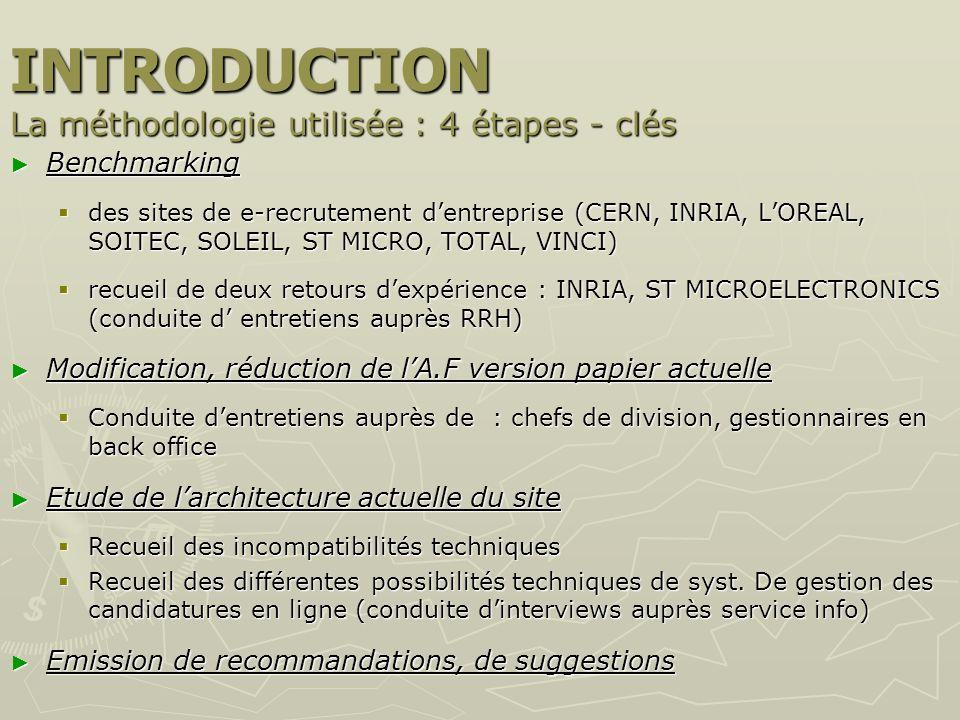 INTRODUCTION La méthodologie utilisée : 4 étapes - clés