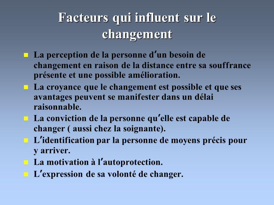 Facteurs qui influent sur le changement