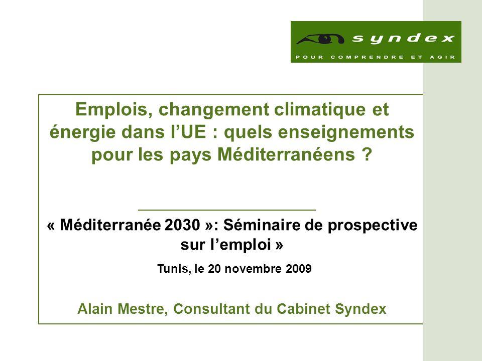 Emplois, changement climatique et énergie dans l'UE : quels enseignements pour les pays Méditerranéens
