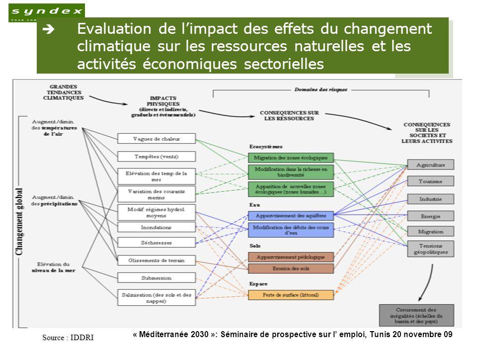 Evaluation de l'impact des effets du changement climatique sur les ressources naturelles et les activités économiques sectorielles