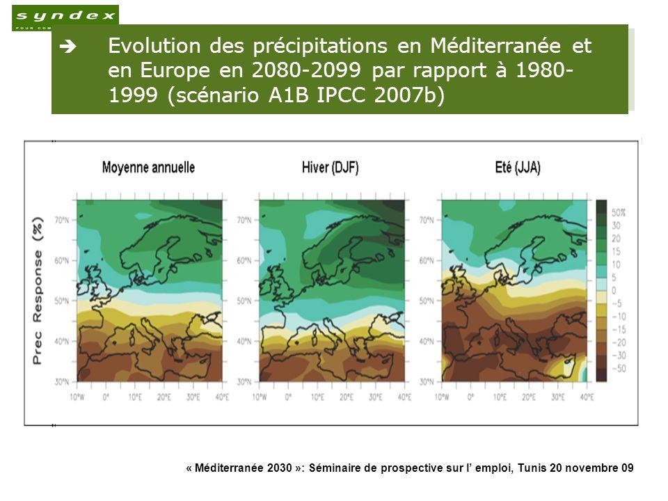 Evolution des précipitations en Méditerranée et en Europe en 2080-2099 par rapport à 1980-1999 (scénario A1B IPCC 2007b)