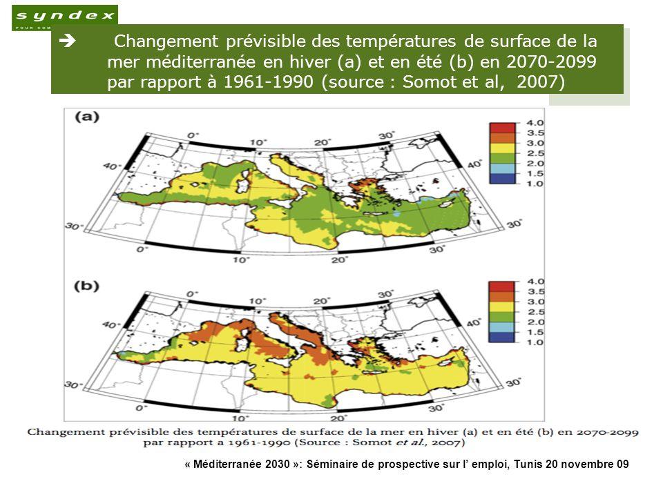 Changement prévisible des températures de surface de la mer méditerranée en hiver (a) et en été (b) en 2070-2099 par rapport à 1961-1990 (source : Somot et al, 2007)
