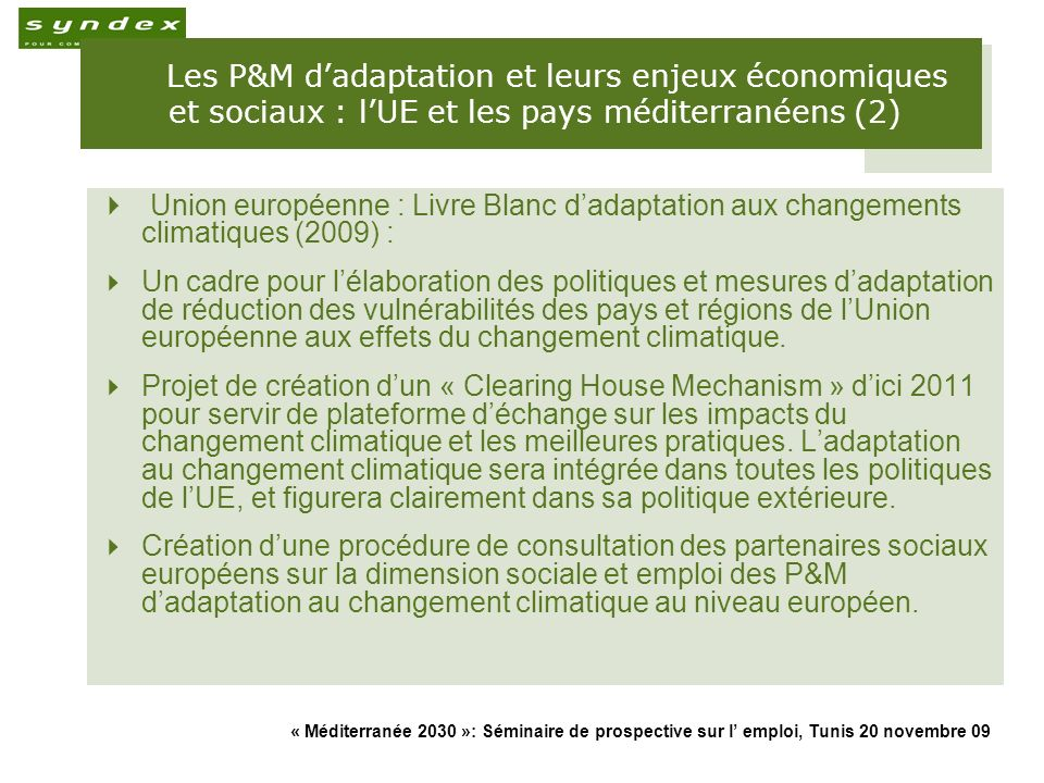 Les P&M d'adaptation et leurs enjeux économiques et sociaux : l'UE et les pays méditerranéens (2)