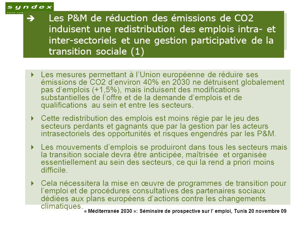 Les P&M de réduction des émissions de CO2 induisent une redistribution des emplois intra- et inter-sectoriels et une gestion participative de la transition sociale (1)