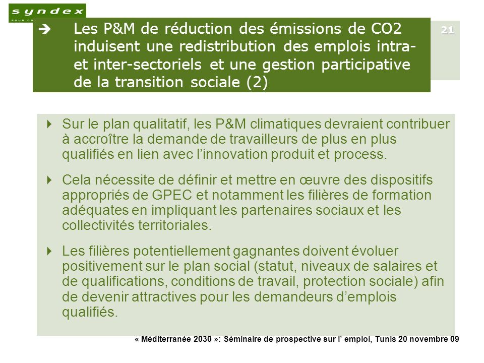 Les P&M de réduction des émissions de CO2 induisent une redistribution des emplois intra- et inter-sectoriels et une gestion participative de la transition sociale (2)