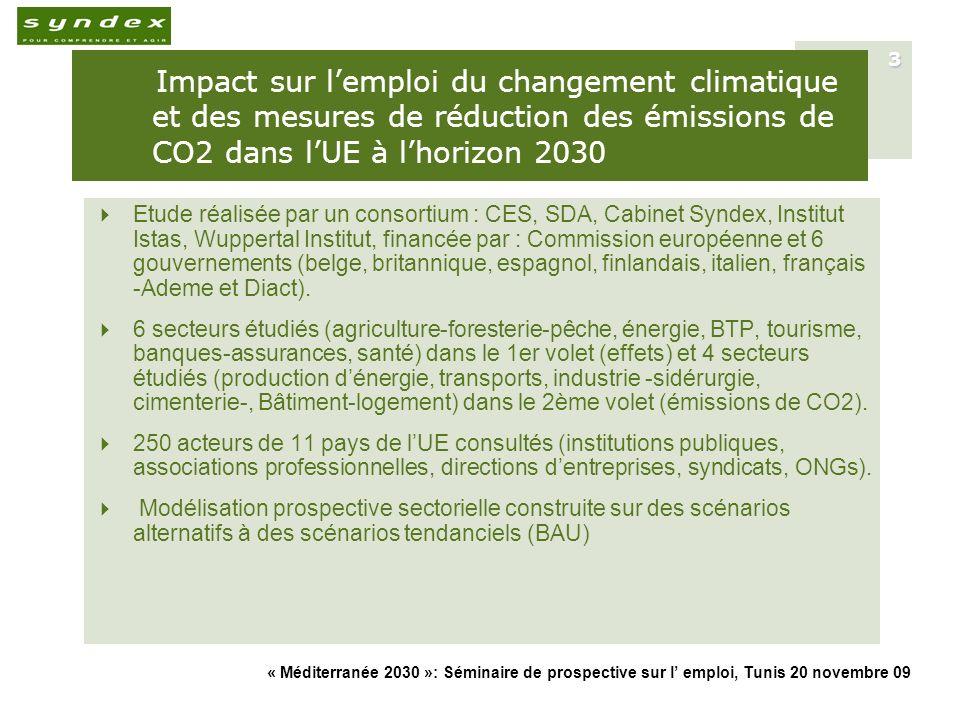 Impact sur l'emploi du changement climatique et des mesures de réduction des émissions de CO2 dans l'UE à l'horizon 2030