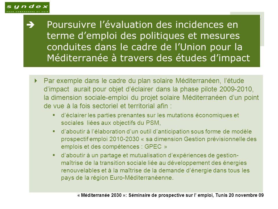 Poursuivre l'évaluation des incidences en terme d'emploi des politiques et mesures conduites dans le cadre de l'Union pour la Méditerranée à travers des études d'impact