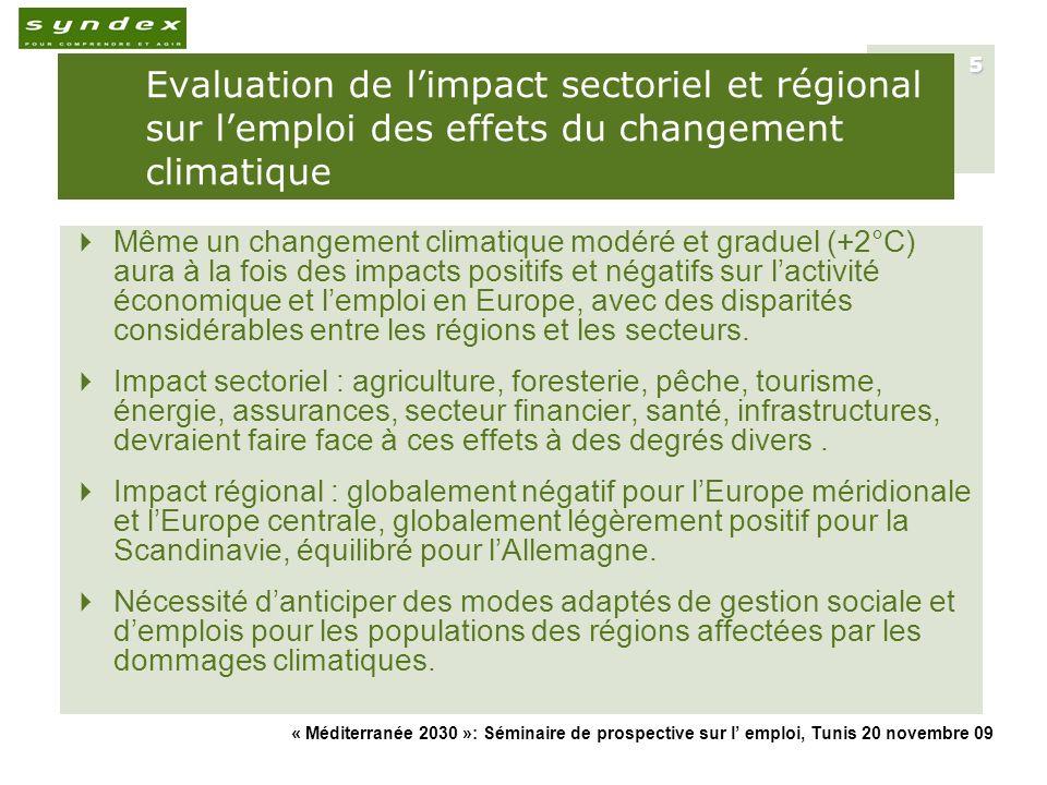 Evaluation de l'impact sectoriel et régional sur l'emploi des effets du changement climatique