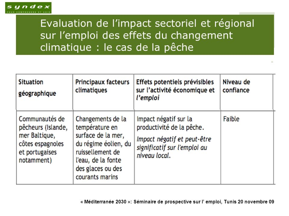Evaluation de l'impact sectoriel et régional sur l'emploi des effets du changement climatique : le cas de la pêche