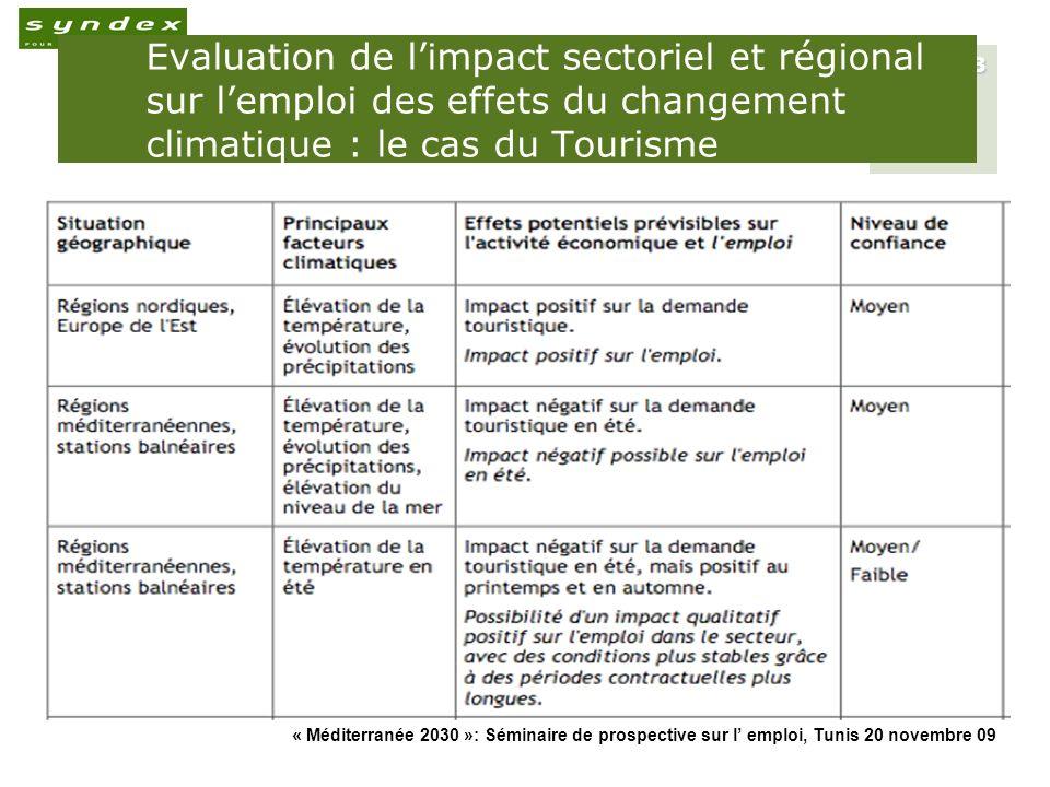 Evaluation de l'impact sectoriel et régional sur l'emploi des effets du changement climatique : le cas du Tourisme