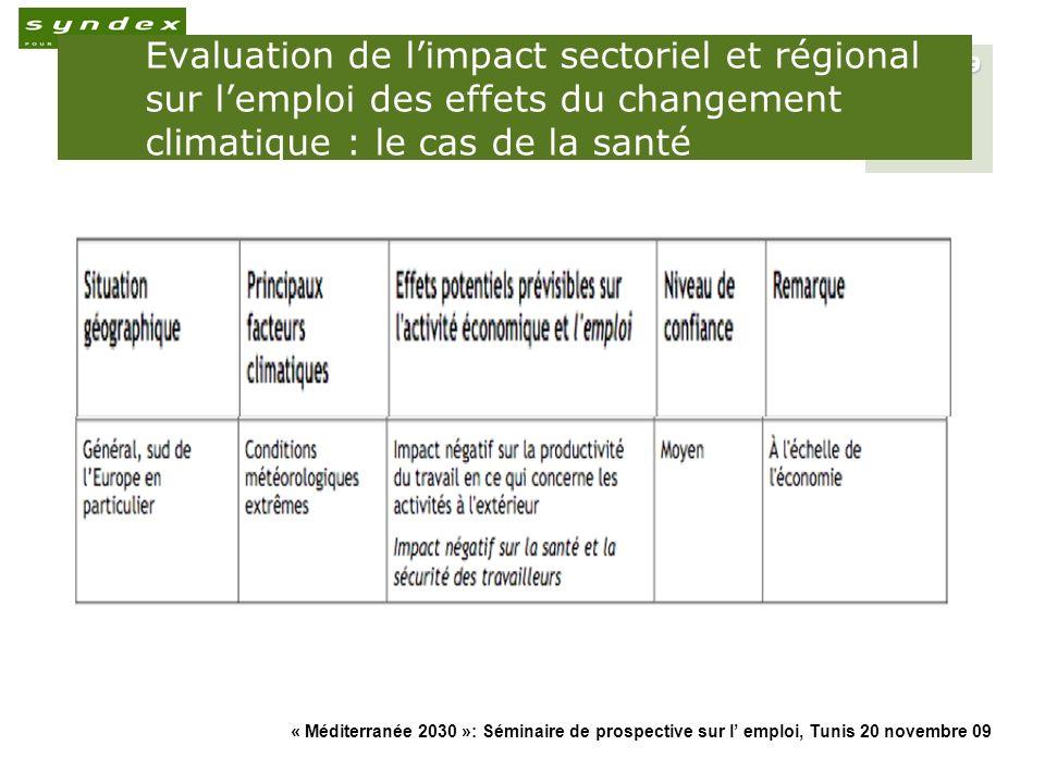 Evaluation de l'impact sectoriel et régional sur l'emploi des effets du changement climatique : le cas de la santé