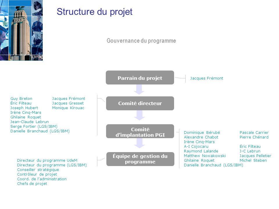 Comité d'implantation PGI Équipe de gestion du programme