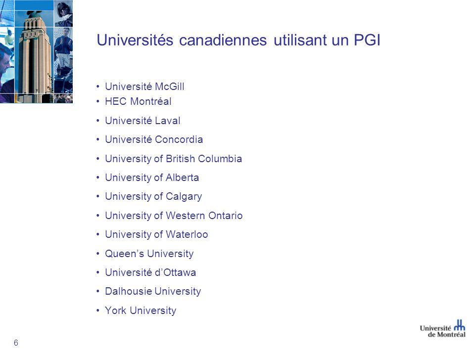 Universités canadiennes utilisant un PGI