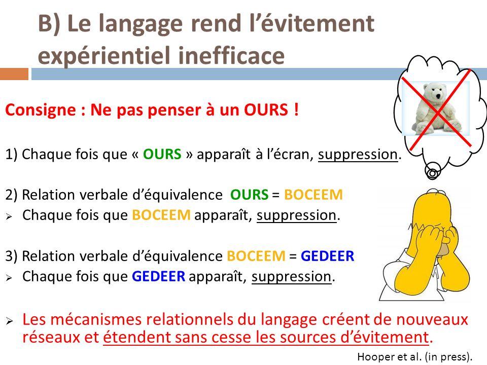 B) Le langage rend l'évitement expérientiel inefficace