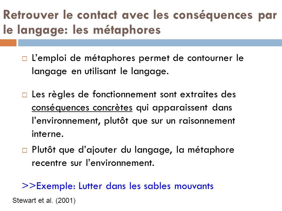 Retrouver le contact avec les conséquences par le langage: les métaphores