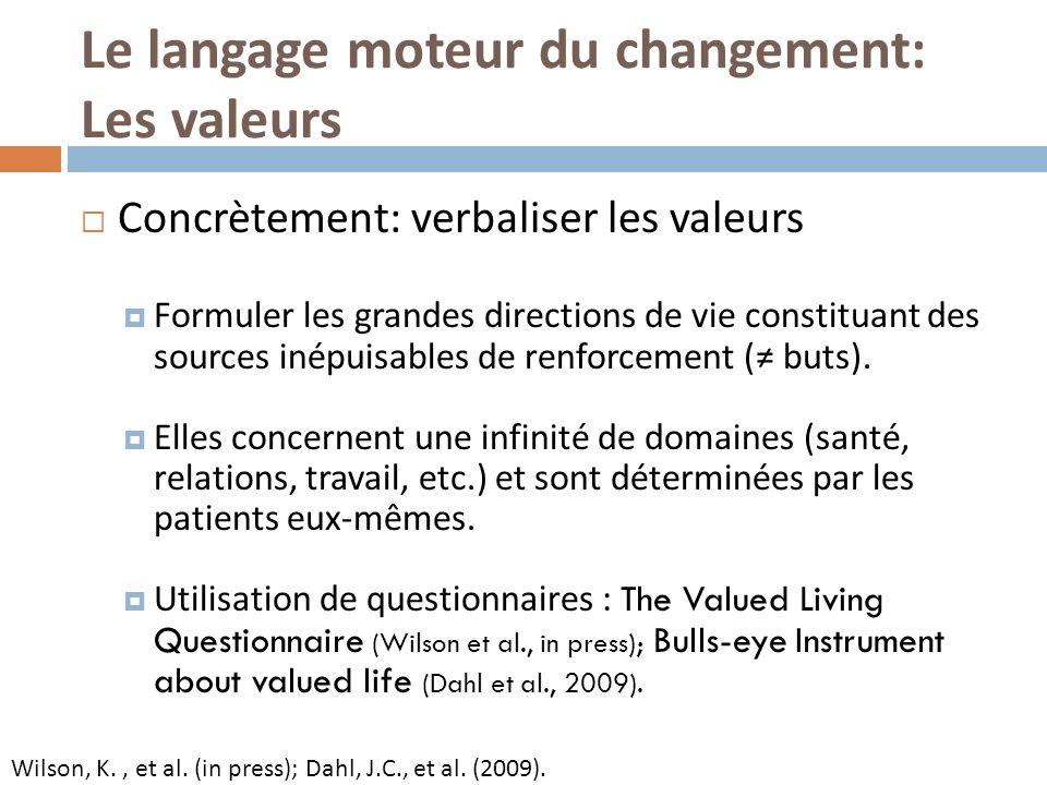 Le langage moteur du changement: Les valeurs