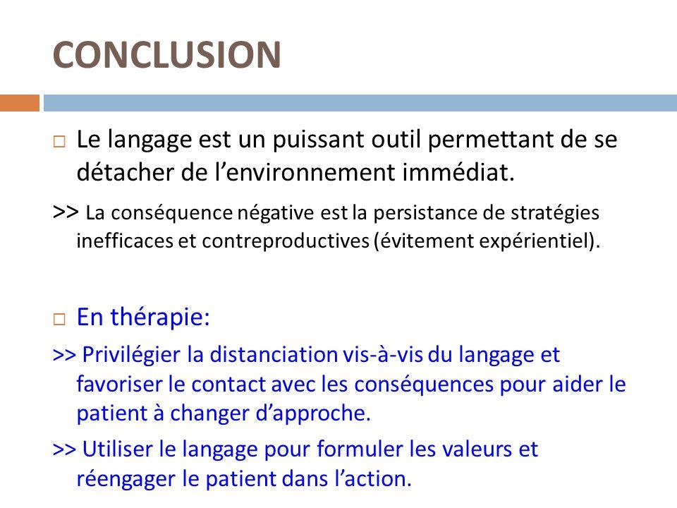 CONCLUSION Le langage est un puissant outil permettant de se détacher de l'environnement immédiat.