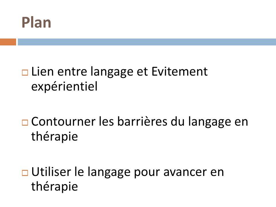 Plan Lien entre langage et Evitement expérientiel